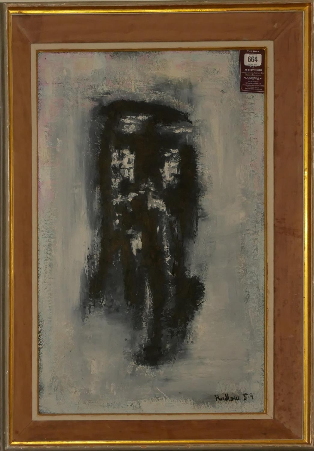 HADLOW, A MID 20TH CENTURY OIL ON BOARD ABSTRACT Shadowy figure, signed lower right, dated 1959, - Image 2 of 2