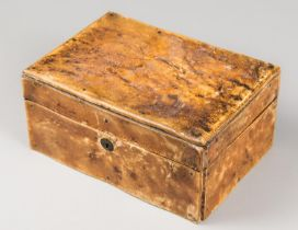 ROWLAND WARD, AN EARLY 20TH CENTURY TAXIDERMY RHINOCEROS SKIN COVERED MAHOGANY BOX. Brass hinges and