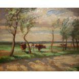 WILFRED STANLEY PETTITT, 1904 - 1978, OIL ON BOARD Landscape, cows in a water meadow, signed lower