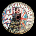 HUMAN CANNONBALL, A PAINTED FAIRGROUND ROUNDEL. (diameter 92cm)