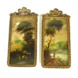 A PAIR OF 20TH CENTURY CONTINENTAL RECTANGULAR OILS ON CARD, LANDSCAPES With a solitary figure