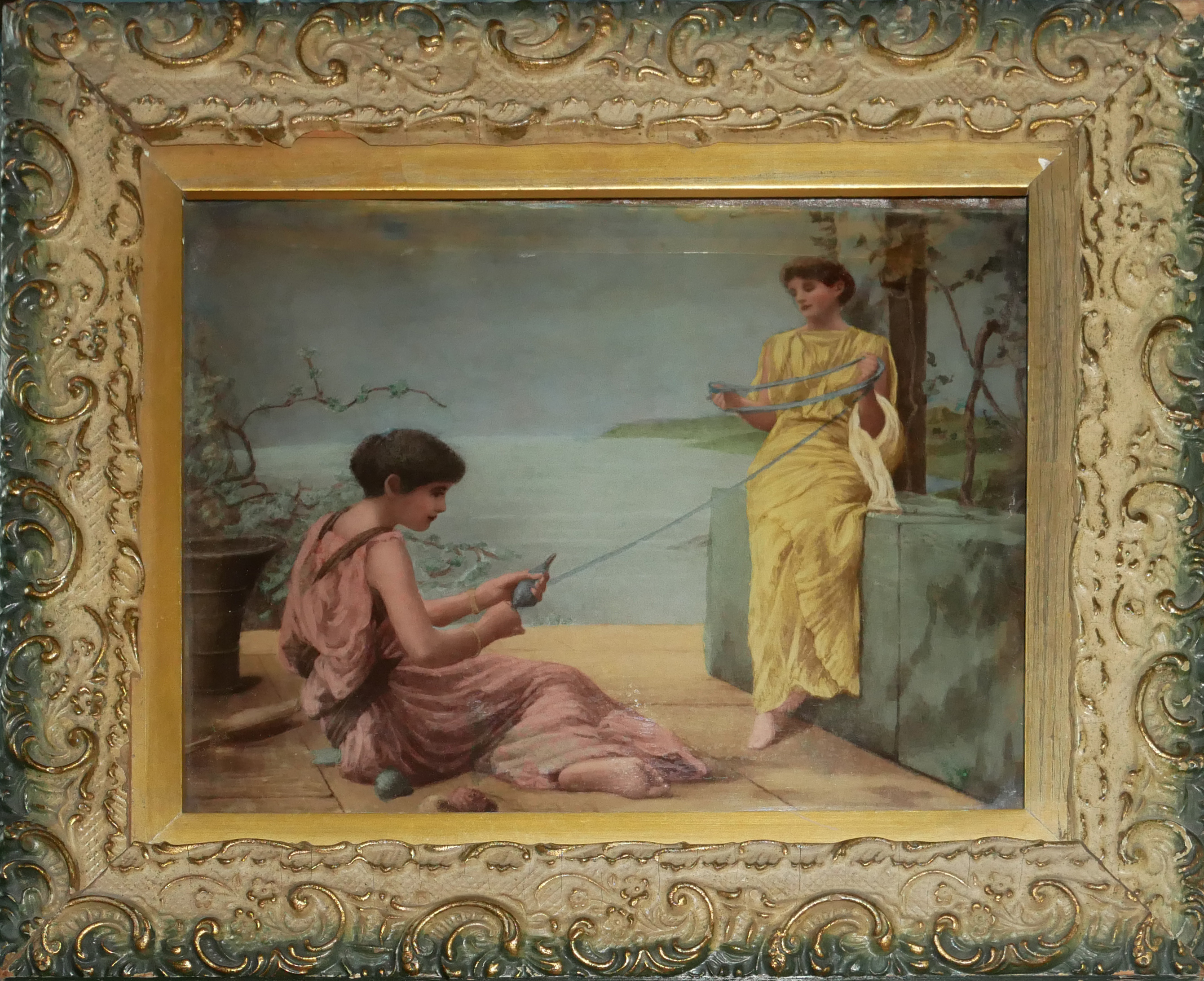 AFTER HENRY RYLAND, 1856 - 1924, CRYSTOLEUM PORTRAIT SCENE Two classical maidens with twine, in a