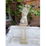 A 19TH CENTURY MARBLE STATUE, SAINTLY FIGURE WITH CHILD On a tapering pedestal. (25cm x 25cm x