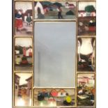 A REVERSE GLASS PAINTED MIRROR Figures in South America dress. (36cm x 46cm) Condition: good