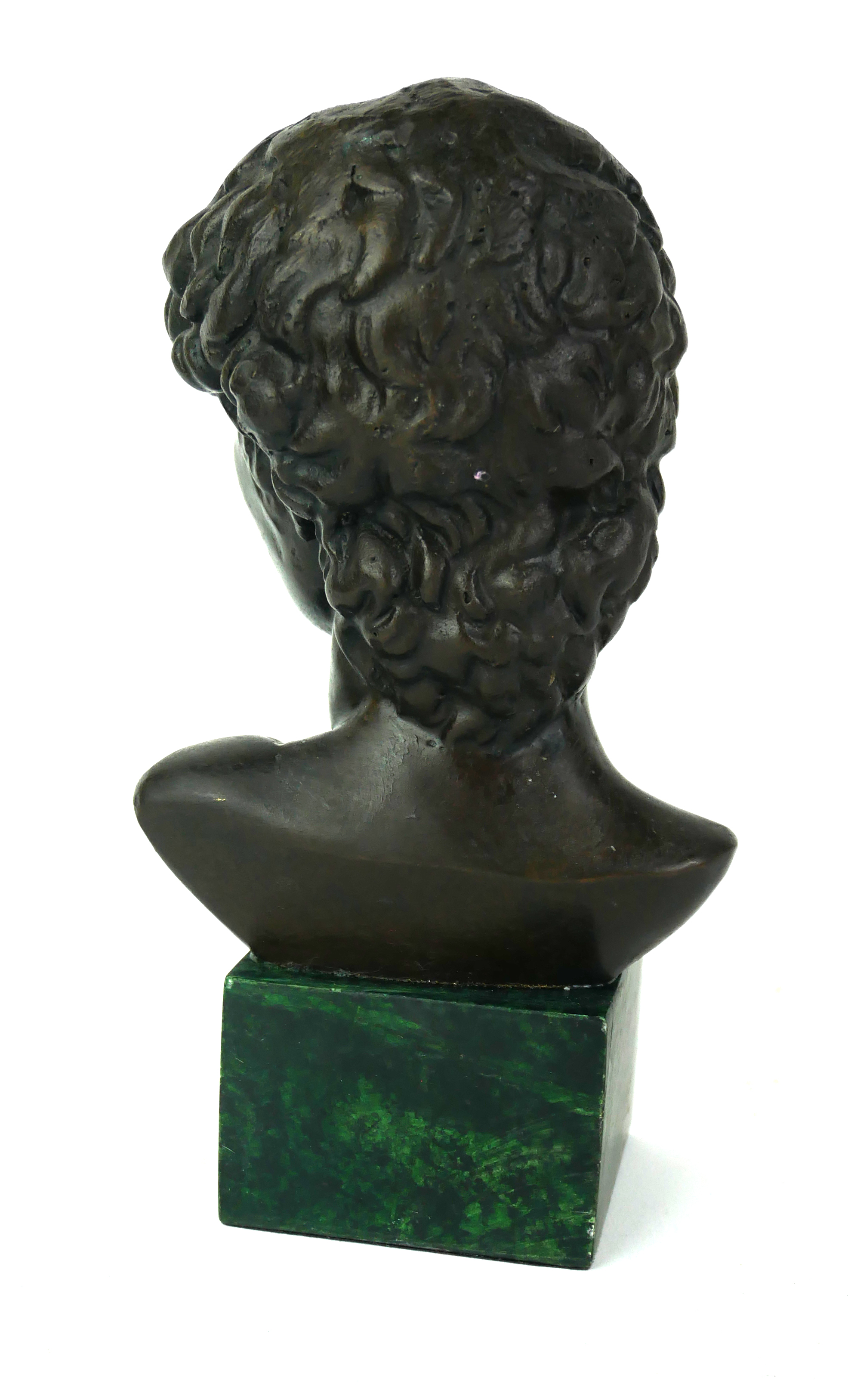 A MODERN BRONZE BUST OF DAVID Raised on a modern square green marble base. (h 17cm) - Image 2 of 2
