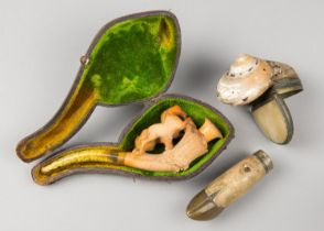 A GROUP OF LATE 19TH CENTURY TAXIDERMY TRINKETS TO INCLUDE A DEER SLOT WITH BRASS HOOF, SHELL AND