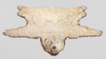 A 20TH CENTURY TAXIDERMY POLAR BEAR SKIN RUG WITH MOUTED HEAD. The Polar bear was shot on an