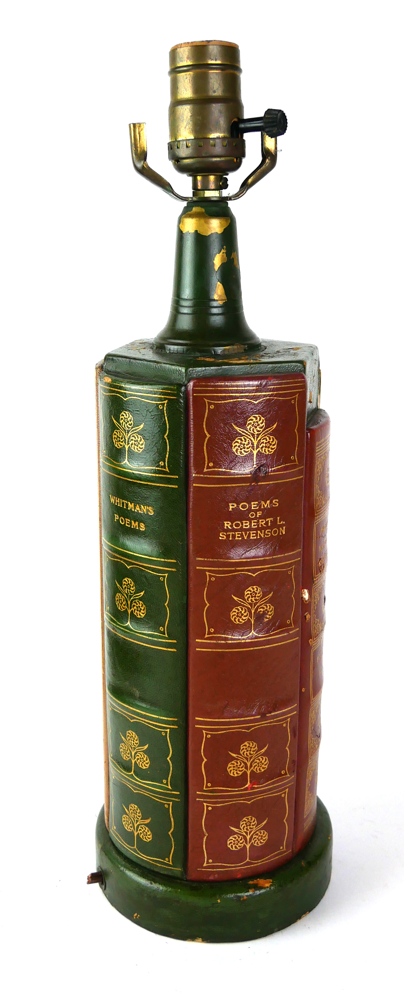 A NOVELTY LEATHER BOUND HARDBACK 'BOOK' LAMP Set with the spines of various books including 'The