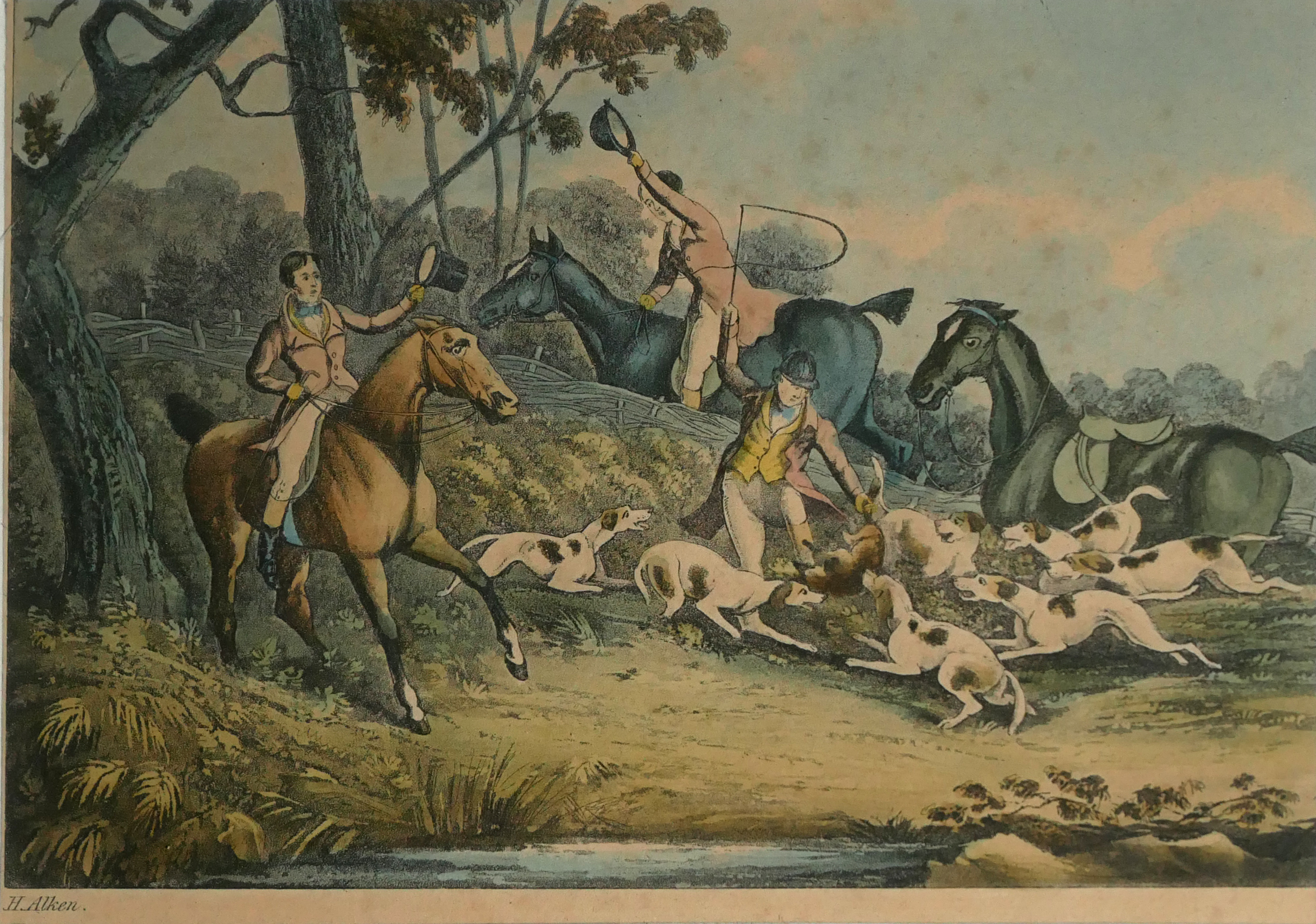 A COLLECTION OF SPORTING COLOURED ENGRAVINGS To include a scene Ben Marshall - notions series, - Image 4 of 7