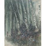 MARTIN B. COOKE, BN BELFAST 1951, WATERCOLOUR Titled 'Silver Birches', winter landscape, tall