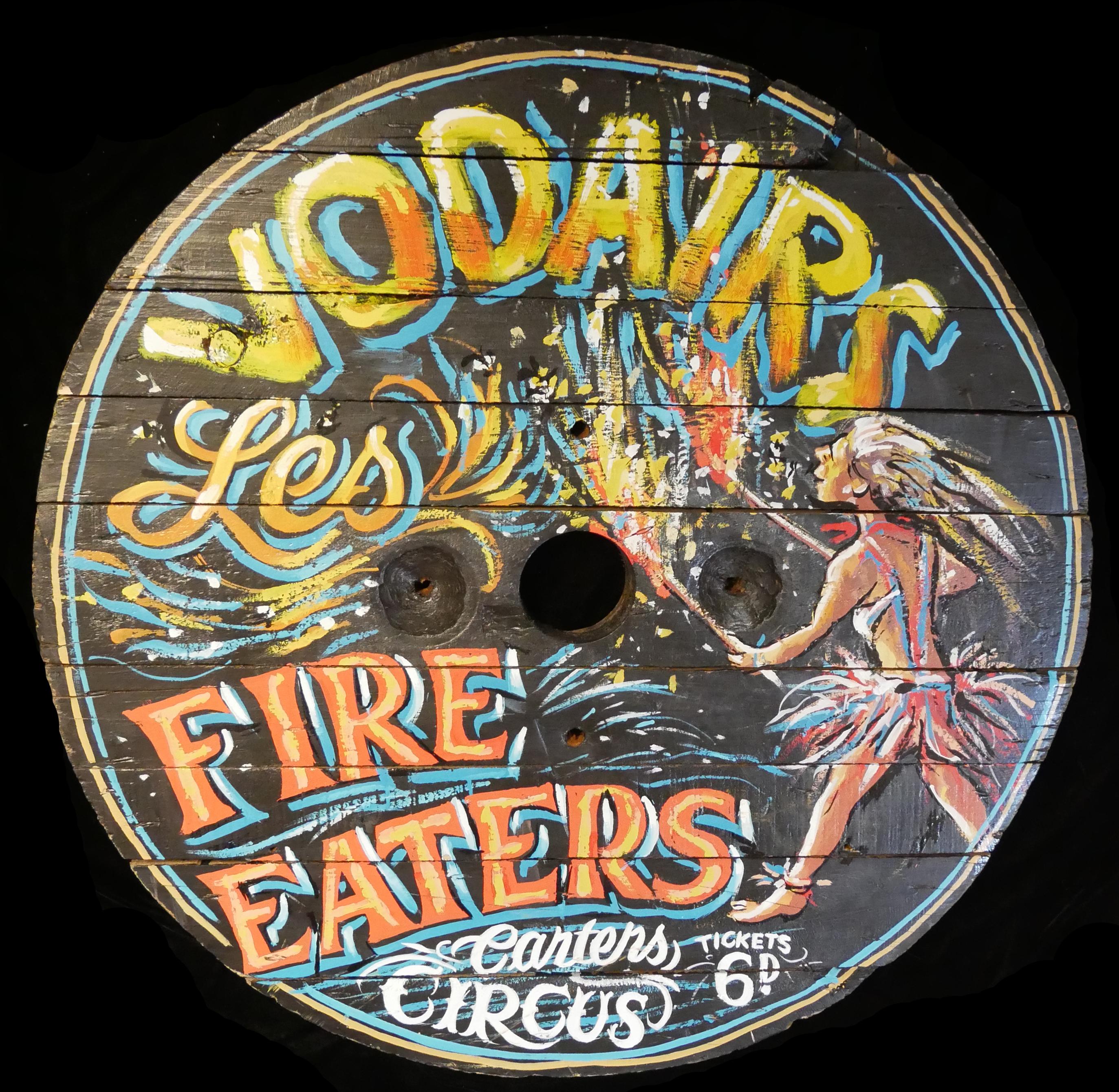 VODAIRS LES FIRE EATERS, A PAINTED FAIRGROUND ROUNDEL. (diameter 82cm)