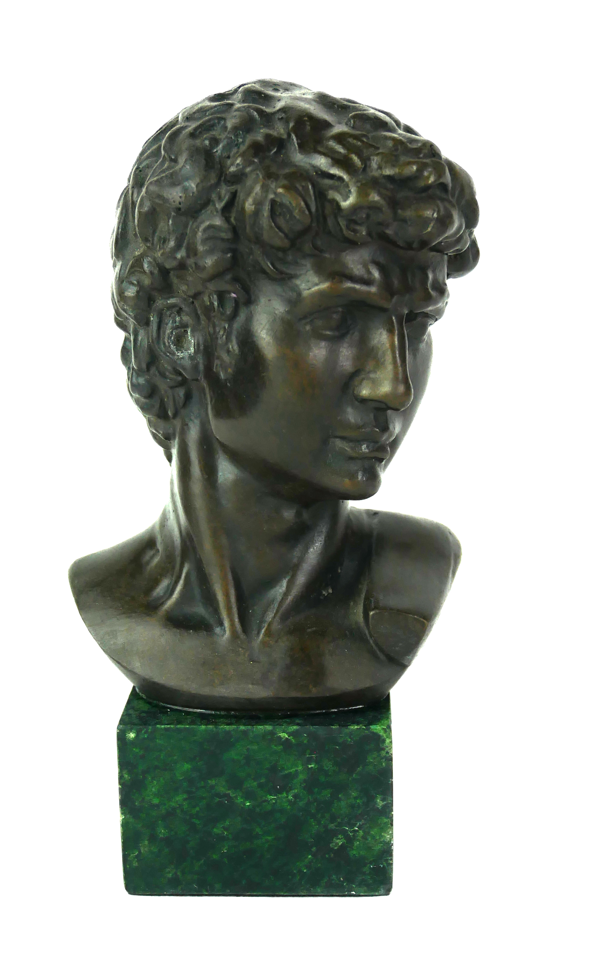 A MODERN BRONZE BUST OF DAVID Raised on a modern square green marble base. (h 17cm)