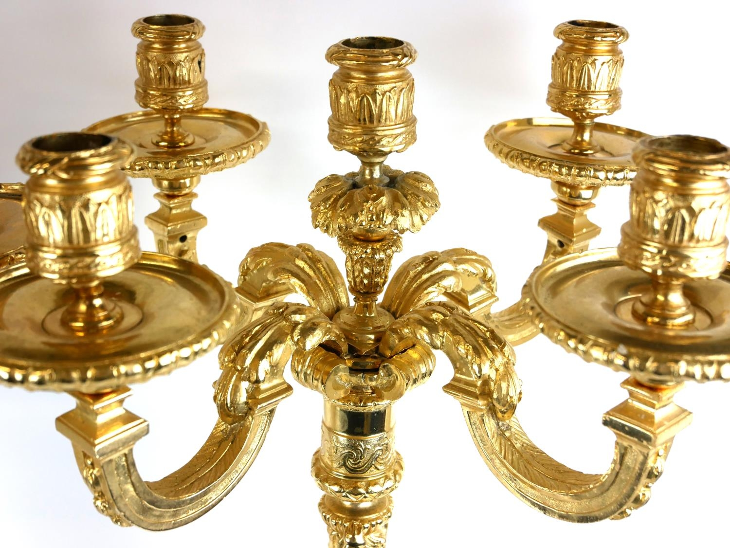 A PAIR OF HEAVY CLASSICAL DESIGN GILT BRONZE FIVE BRANCH CANDELABRA Figured with semi clad maidens - Image 4 of 4