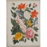 A SET OF FOUR 19TH CENTURY CHINESE RICE PAPER PAINTINGS, STILL LIFE, FLOWERS Mounted, framed and