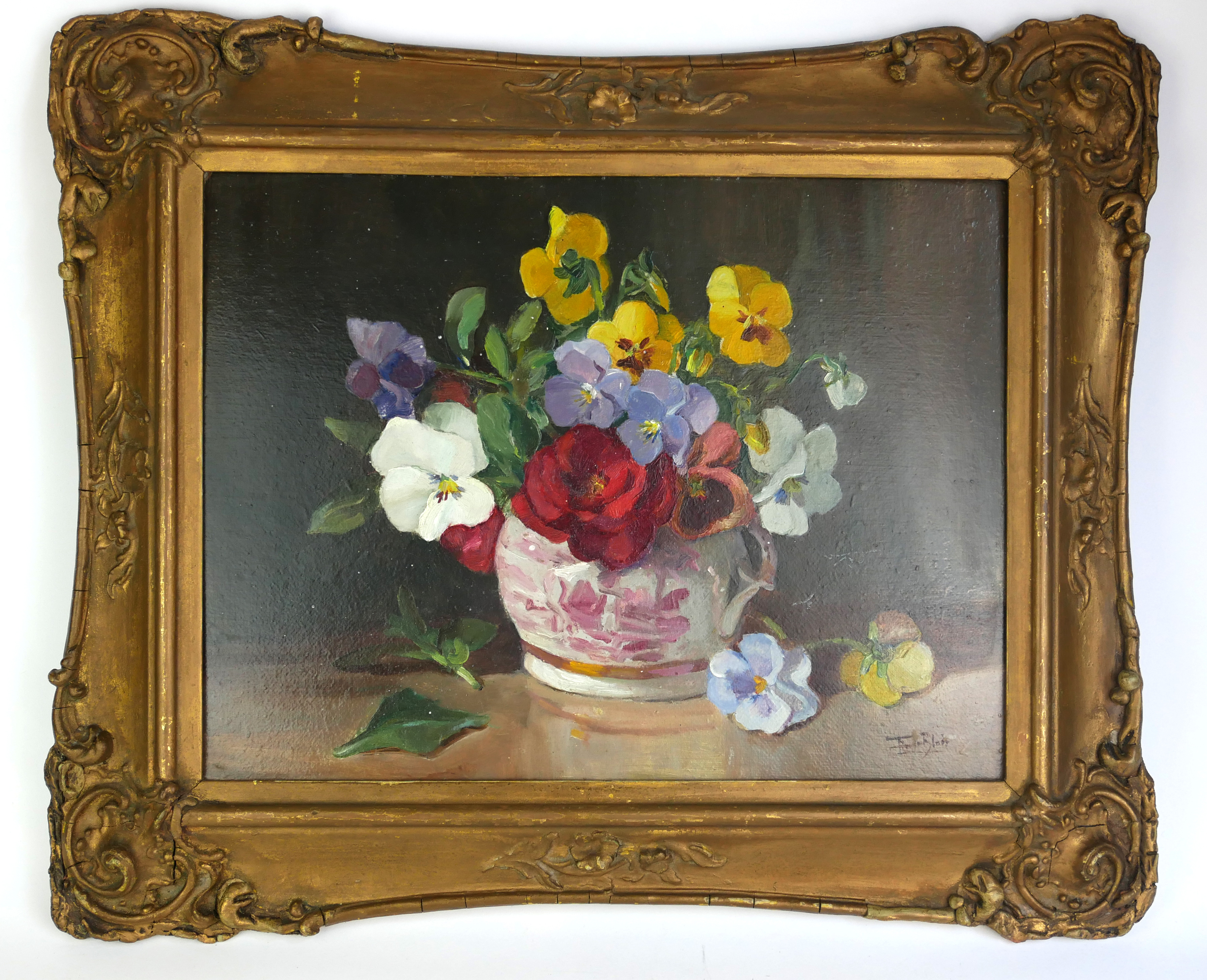 FLAVIA BLOIS (LADY BURNTWOOD), 1914 - 1980, OIL ON BOARD Still life, flowers in a lustre ware jug,
