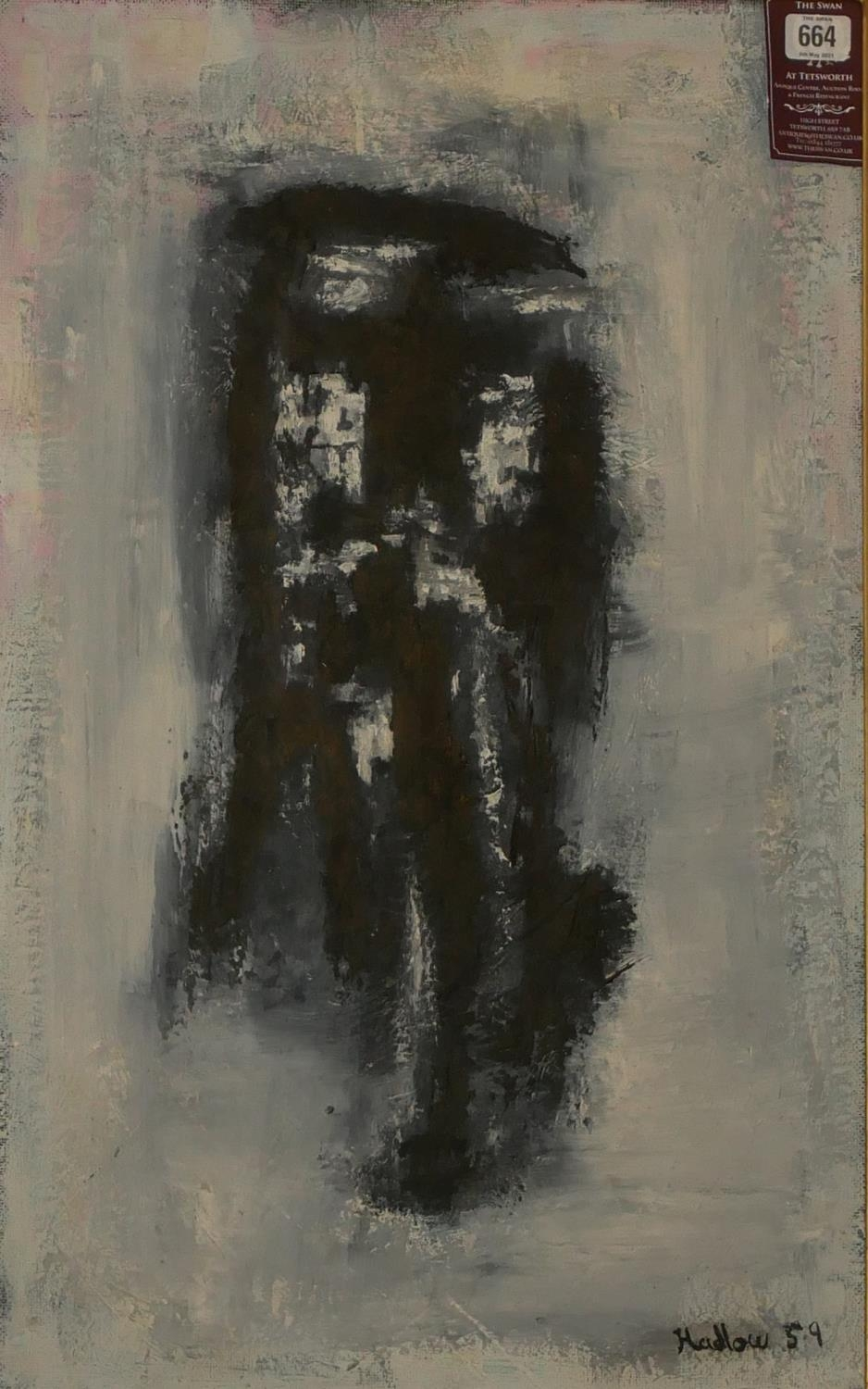 HADLOW, A MID 20TH CENTURY OIL ON BOARD ABSTRACT Shadowy figure, signed lower right, dated 1959,
