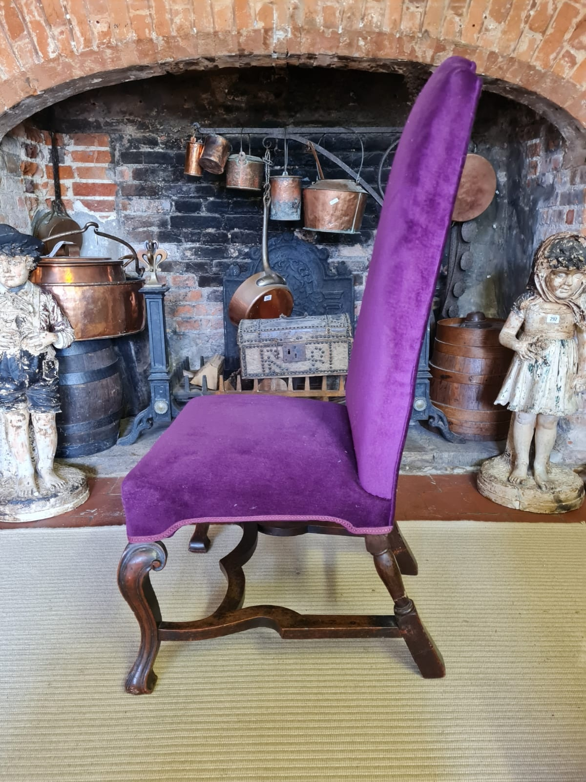 AN 18TH CENTURY WALNUT STANDARD CHAIR Upholstered in a purple fabric, raised on square cabriole legs - Image 2 of 3