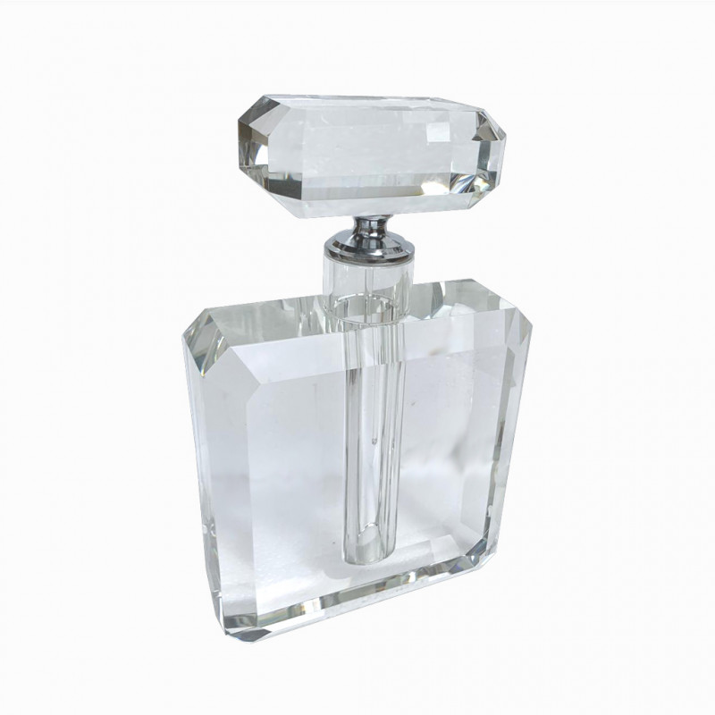 A LARGE HEAVY ART DECO STYLE CUT GLASS SCENT BOTTLE AND STOPPER In Odeon style. (16cm x 26cm)