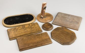 A COLLECTION OF SEVEN HARDWOOD BASES FOR TAXIDERMY. The largest (30cm)