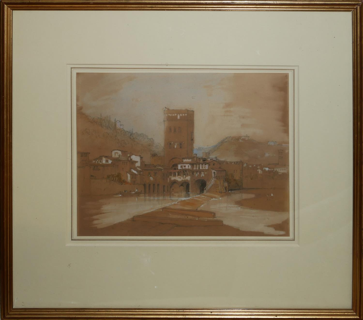 A 19TH CENTURY ITALIAN WATERCOLOUR Riverside landscape, with building, mounted, framed and - Image 2 of 2