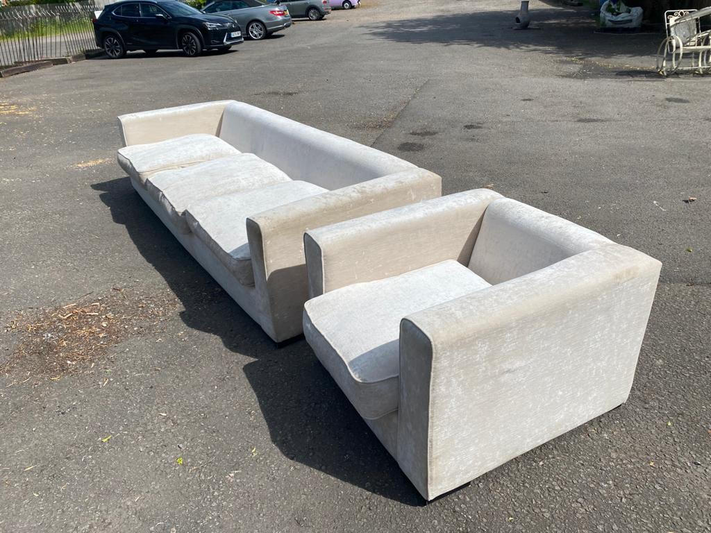 A LARGE CONTEMPORARY CREAM VELVET UPHOLSTERED THREE SEATER SETTEE, along with matching armchair - Image 2 of 2