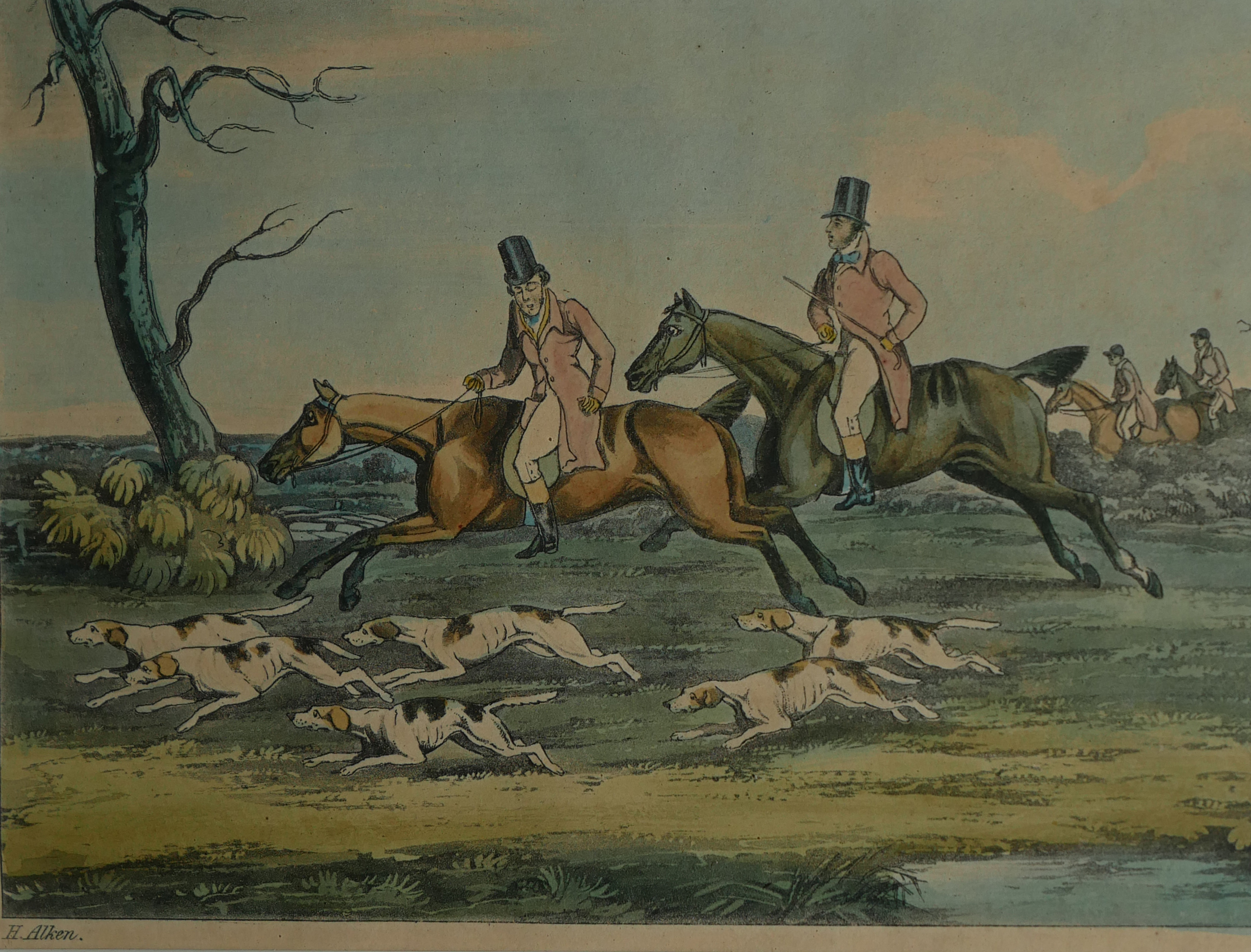 A COLLECTION OF SPORTING COLOURED ENGRAVINGS To include a scene Ben Marshall - notions series, - Image 3 of 7