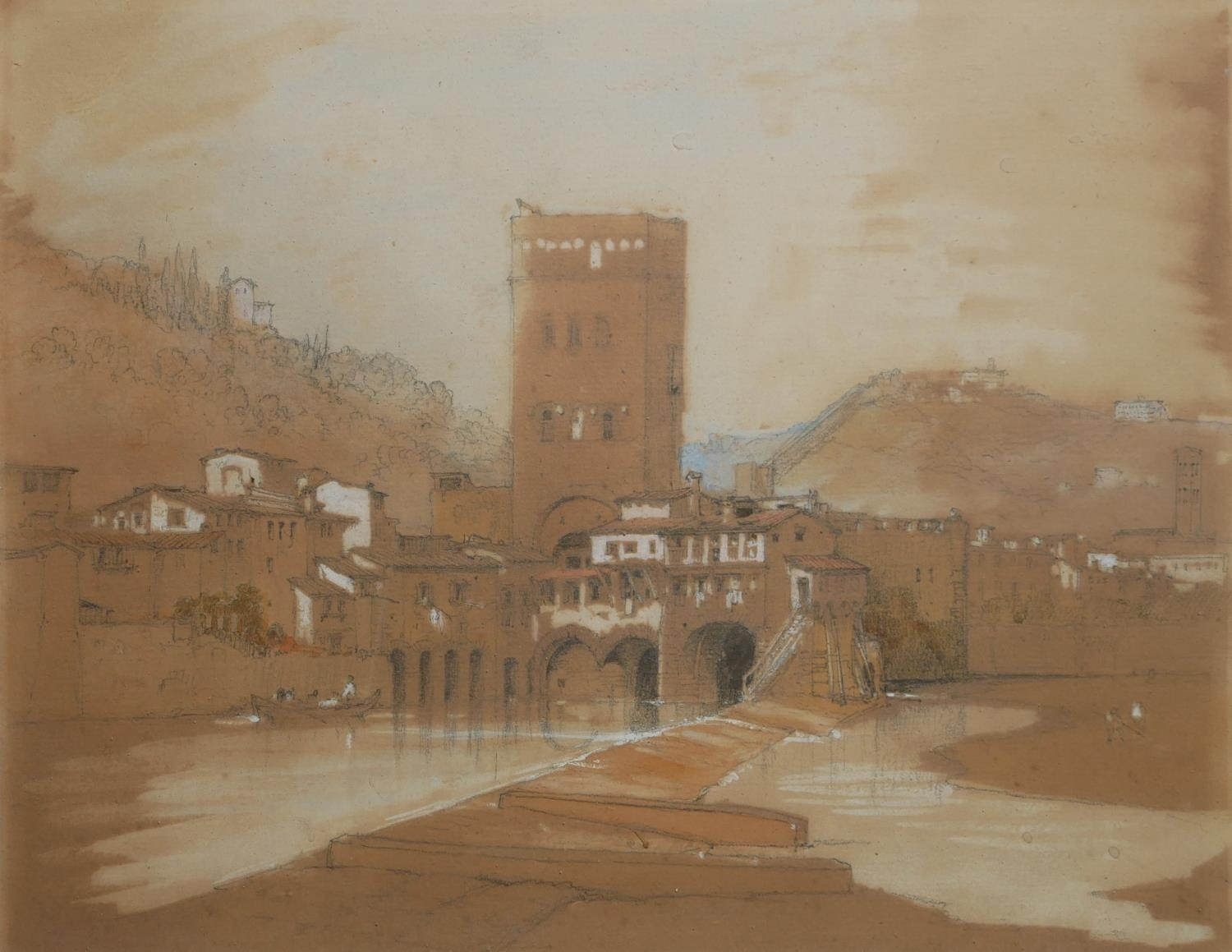A 19TH CENTURY ITALIAN WATERCOLOUR Riverside landscape, with building, mounted, framed and