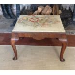 AN ANTIQUE MAHOGANY STOOL With tapestry upholstered drop in seat, cabriole legs on pad feet.