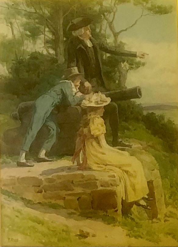 F. DALY, A LATE 19TH/EARLY 20TH CENTURY NARRATIVE WATERCOLOUR Gentleman with tricorn hat, children