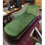 AN EARLY VICTORIAN MAHOGANY SCROLL END GREEN VELVET UPHOLSTERED CHAISE LOUNGE.
