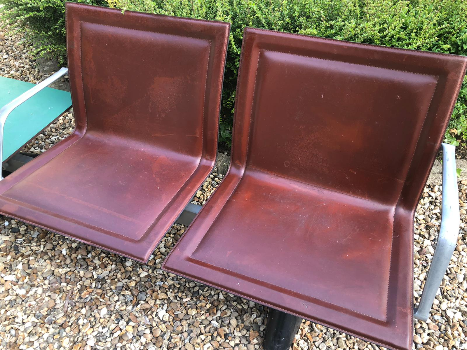 AN ITALIAN STEEL, ALUMINIUM AND LEATHER TWO SEATER BENCH Brown leather covers with aluminium - Image 2 of 3