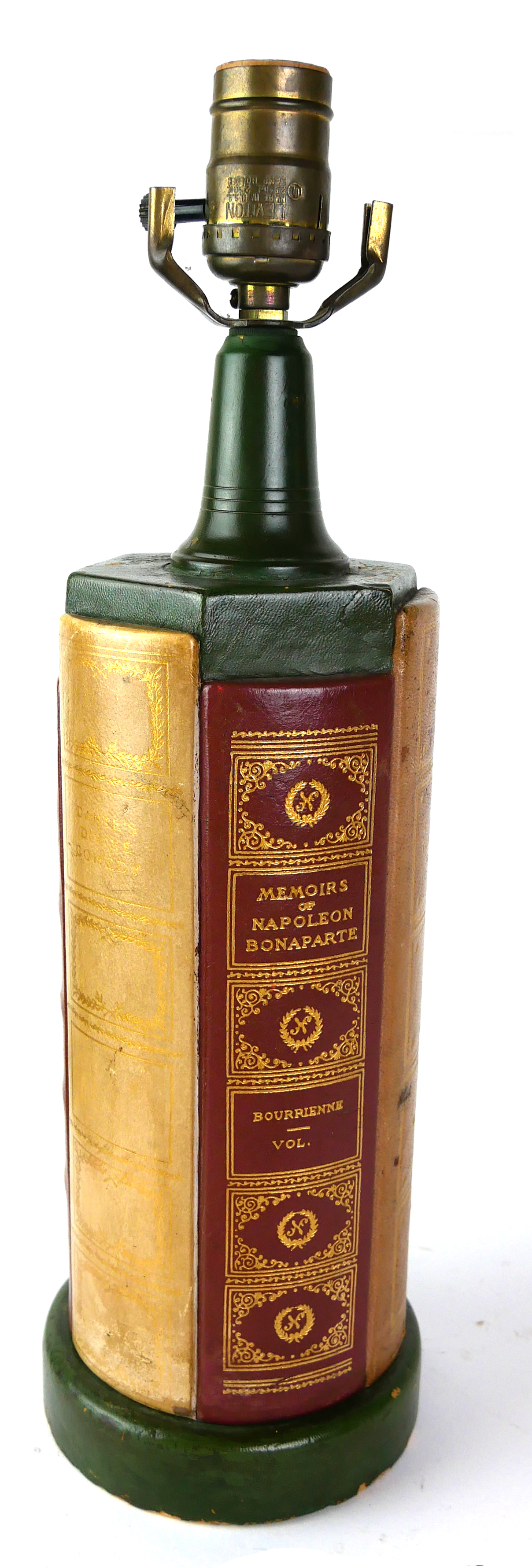 A NOVELTY LEATHER BOUND HARDBACK 'BOOK' LAMP Set with the spines of various books including 'The - Image 4 of 4