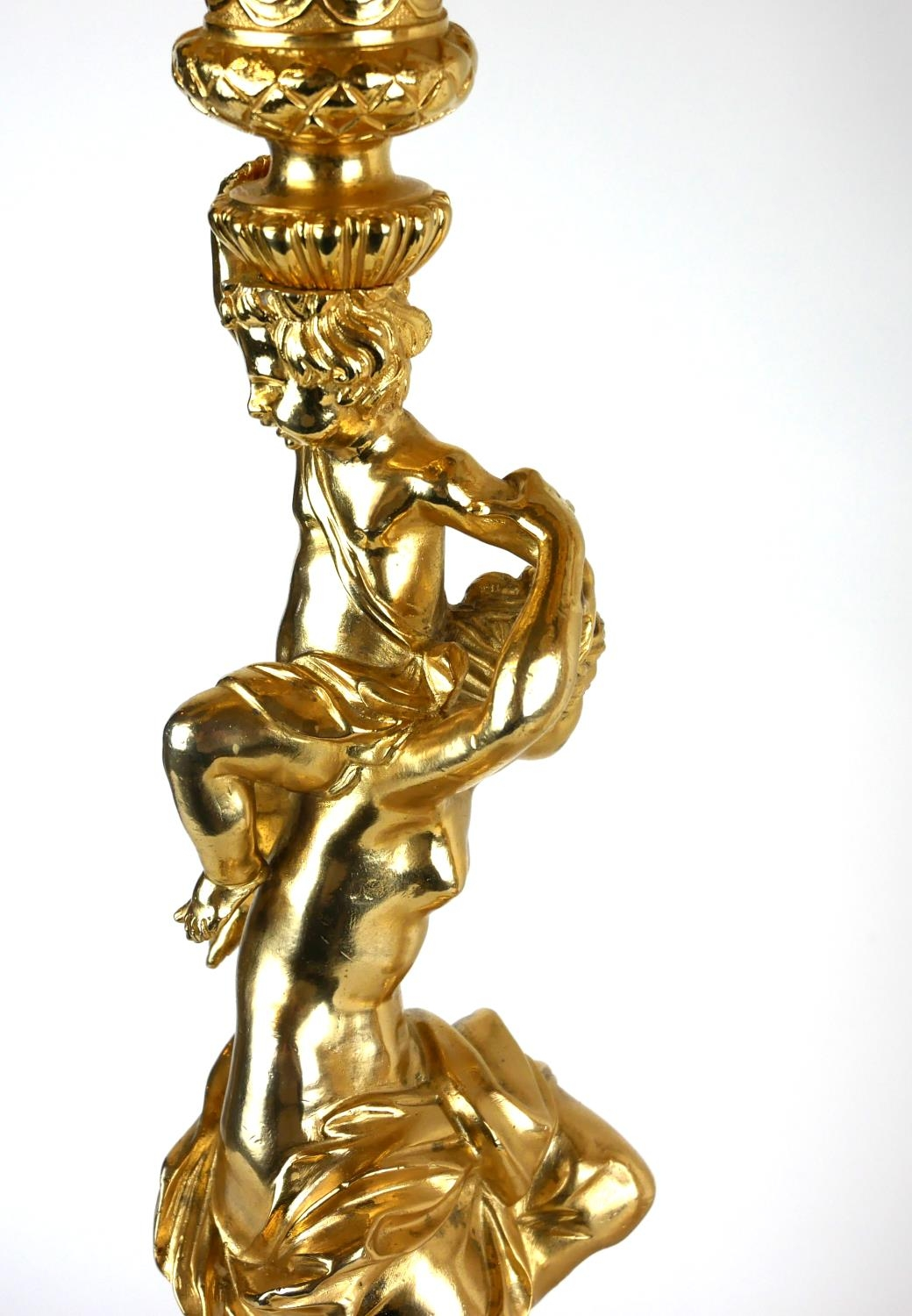 A PAIR OF HEAVY CLASSICAL DESIGN GILT BRONZE FIVE BRANCH CANDELABRA Figured with semi clad maidens - Image 3 of 4
