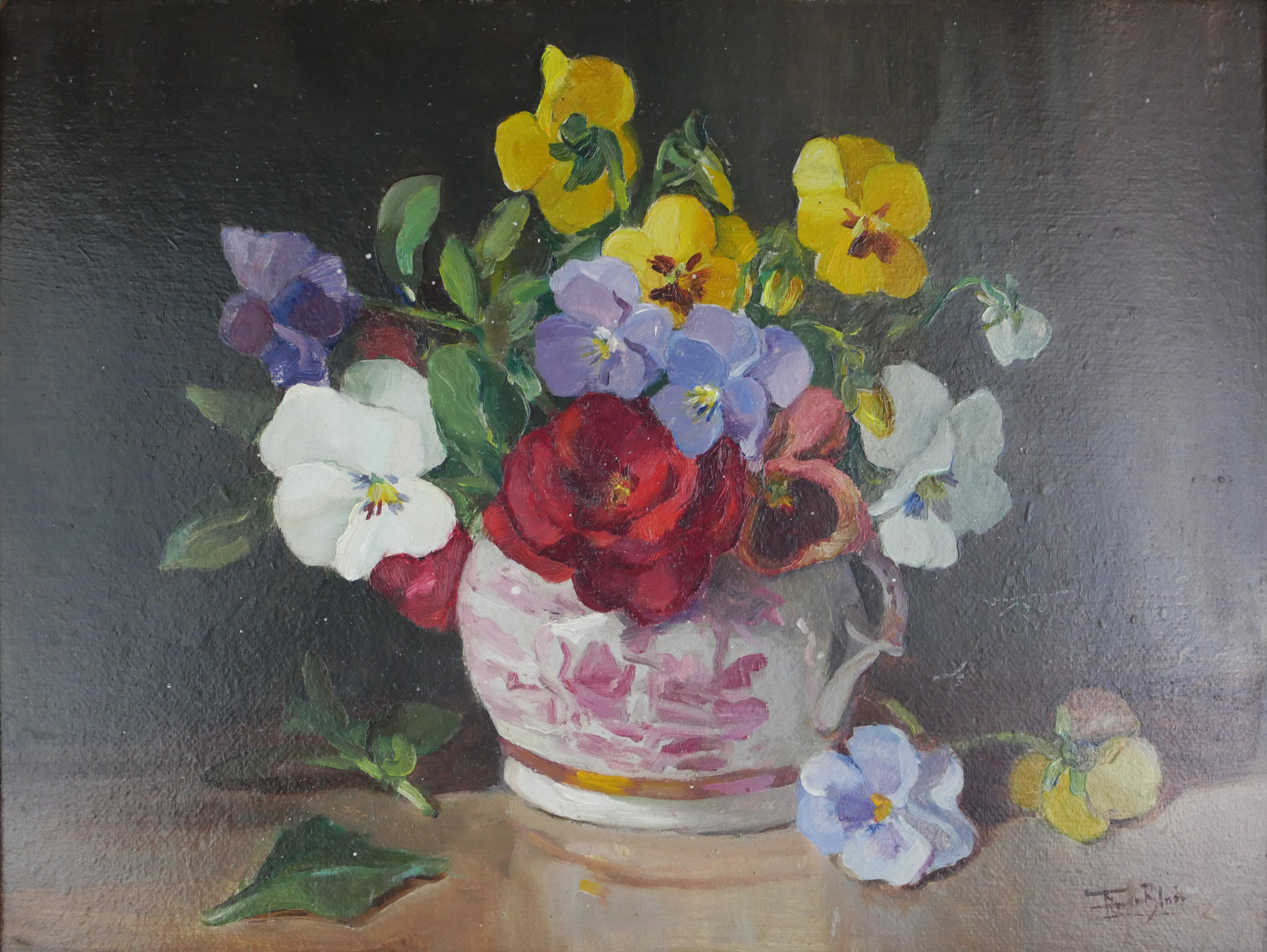 FLAVIA BLOIS (LADY BURNTWOOD), 1914 - 1980, OIL ON BOARD Still life, flowers in a lustre ware jug, - Image 2 of 4