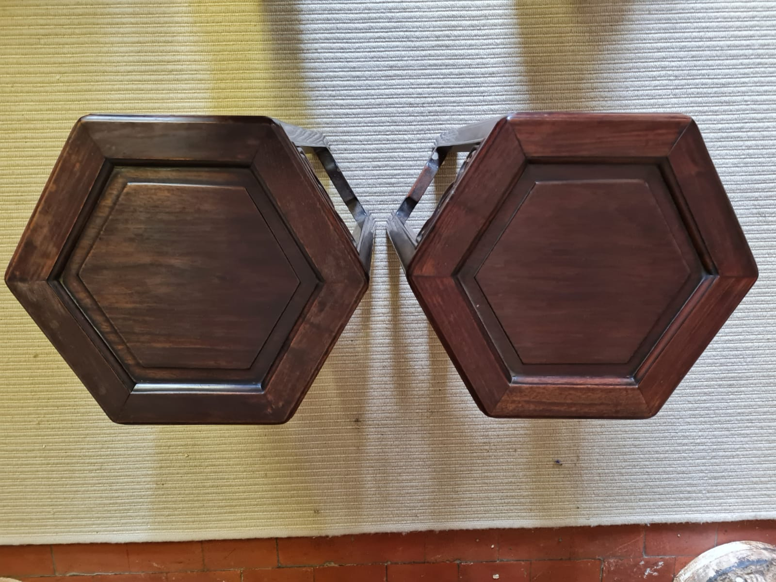 A PAIR OF 19TH CENTURY CHINESE HARDWOOD HEXAGONAL OCCASIONAL TABLES With pierced fretwork apron, - Image 3 of 3