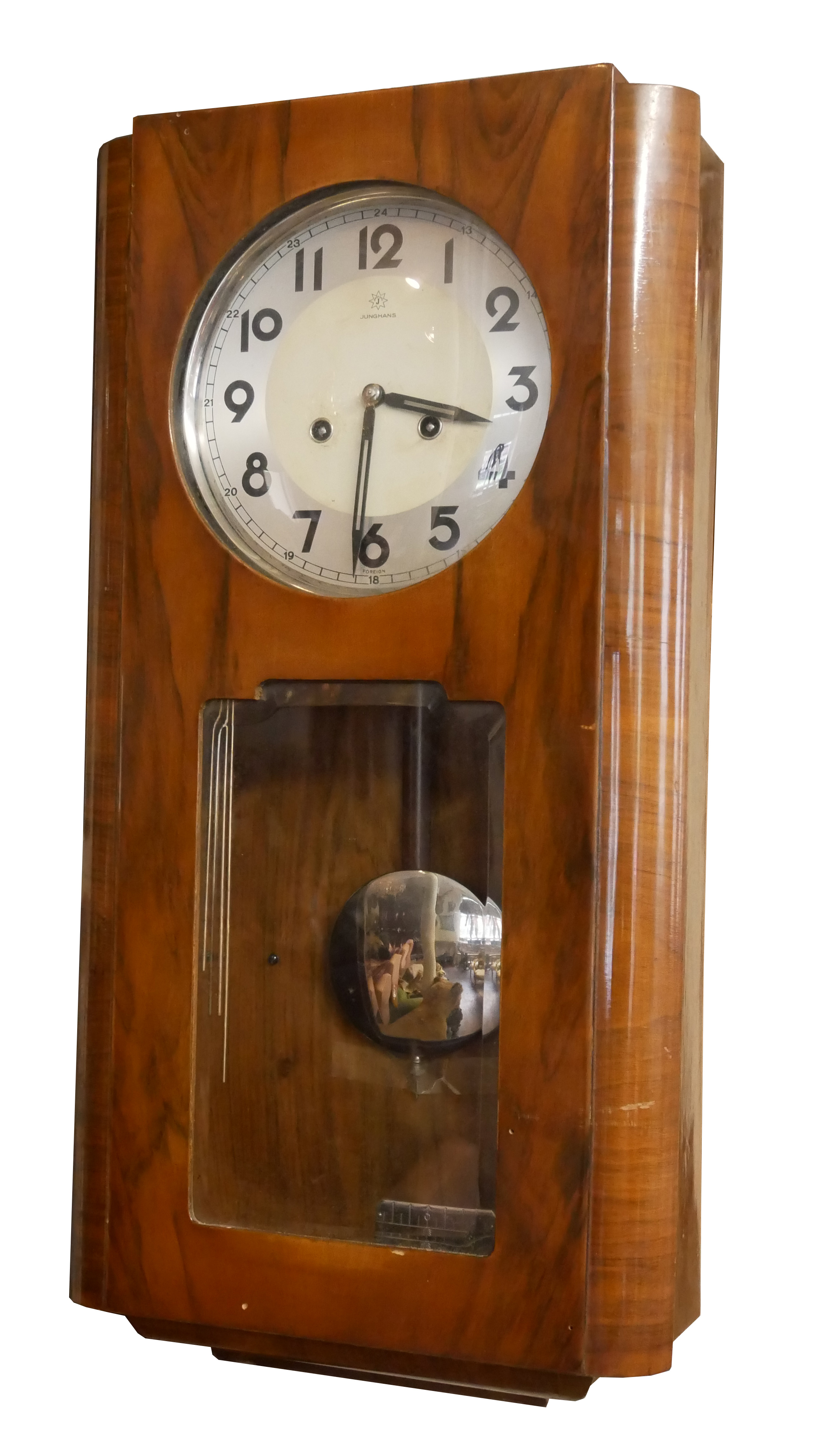 AN EARLY 20TH CENTURY WALNUT AND CHROME WALL CLOCK Having a silver tone dial marked Junghans and