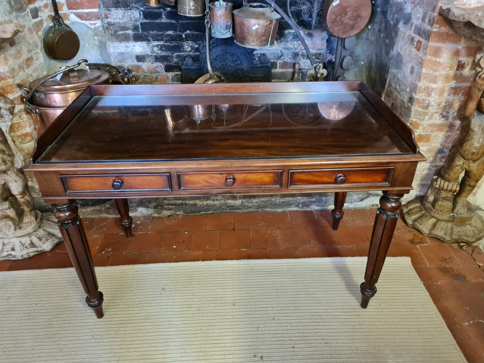 A VICTORIAN MAHOGANY WRITING TABLE With galleried back above three drawers, raised on turned - Image 2 of 2