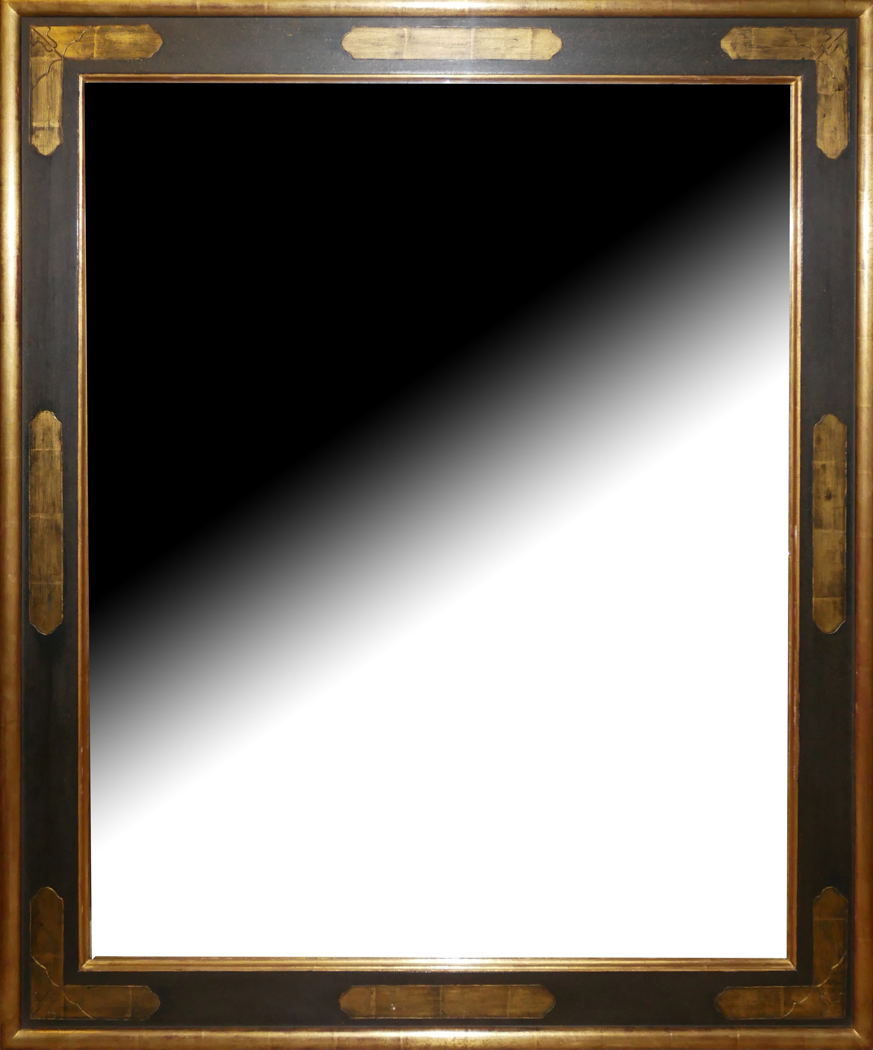 A BEVELLED PLATE OVER MANTLE MIRROR In a parcel gilt and brown frame. (103cm x 123cm) Condition: