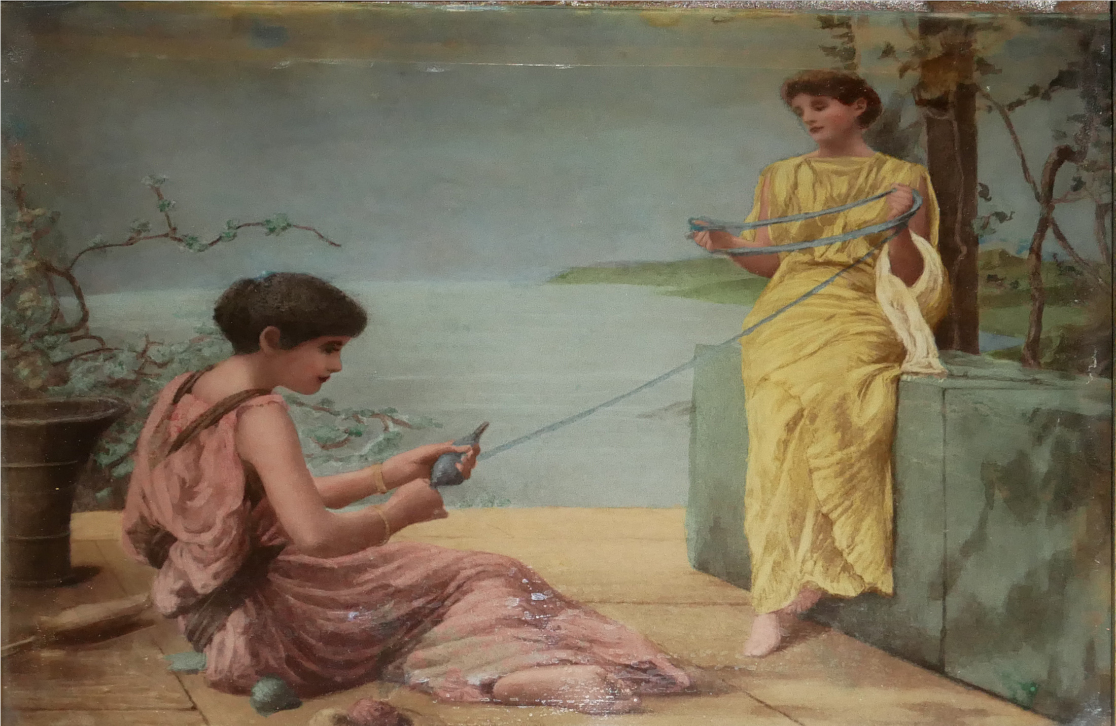 AFTER HENRY RYLAND, 1856 - 1924, CRYSTOLEUM PORTRAIT SCENE Two classical maidens with twine, in a - Image 2 of 3
