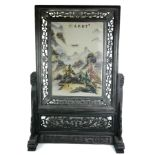 A 20TH CENTURY CHINESE RECTANGULAR SECTION TABLE SCREEN Painted with a mountainous landscape, with