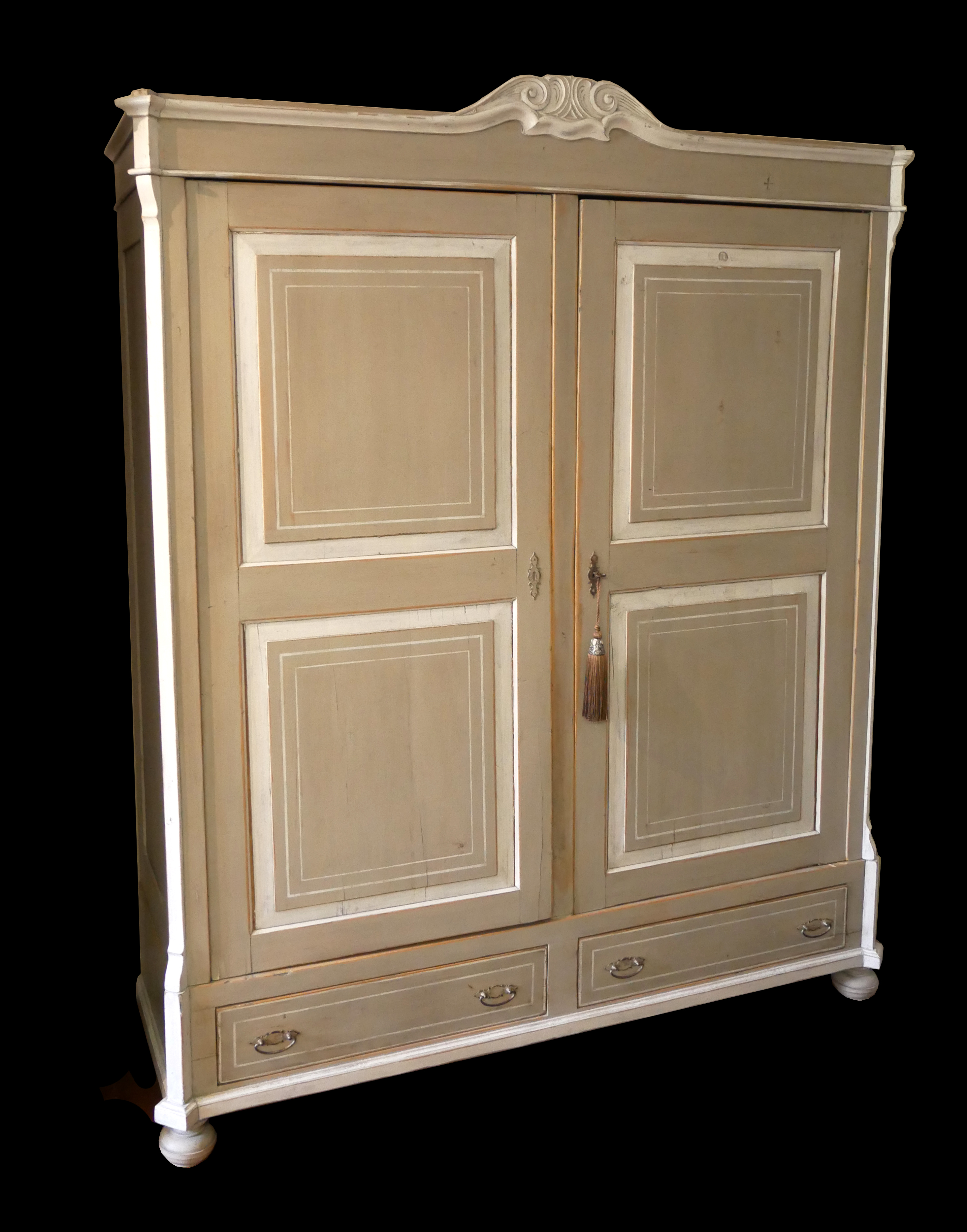 A 19TH CENTURY DUTCH HANGING CUPBOARD With two panelled doors above two drawers, in grey and cream