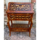 AN ITALIAN DESIGN LACQUERED WALNUT AND FLORAL MARQUETRY INLAID LADIES BUREAU The full front