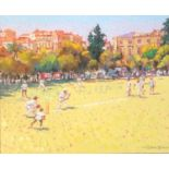 GERRY BLOOD, 1932 - 2005, OIL ON CANVAS Cricketing scene, signed and framed. (64cm x 74cm)