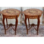 A PAIR OF ITALIAN DESIGN LACQUERED WALNUT AND FLORAL MARQUETRY INLAID SIDE TABLES With a single