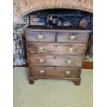 A GEORGIAN MAHOGANY CHEST OF TWO SHORT ABOVE THREE LONG DRAWERS. (93cm x 49cm x 103cm) Condition:
