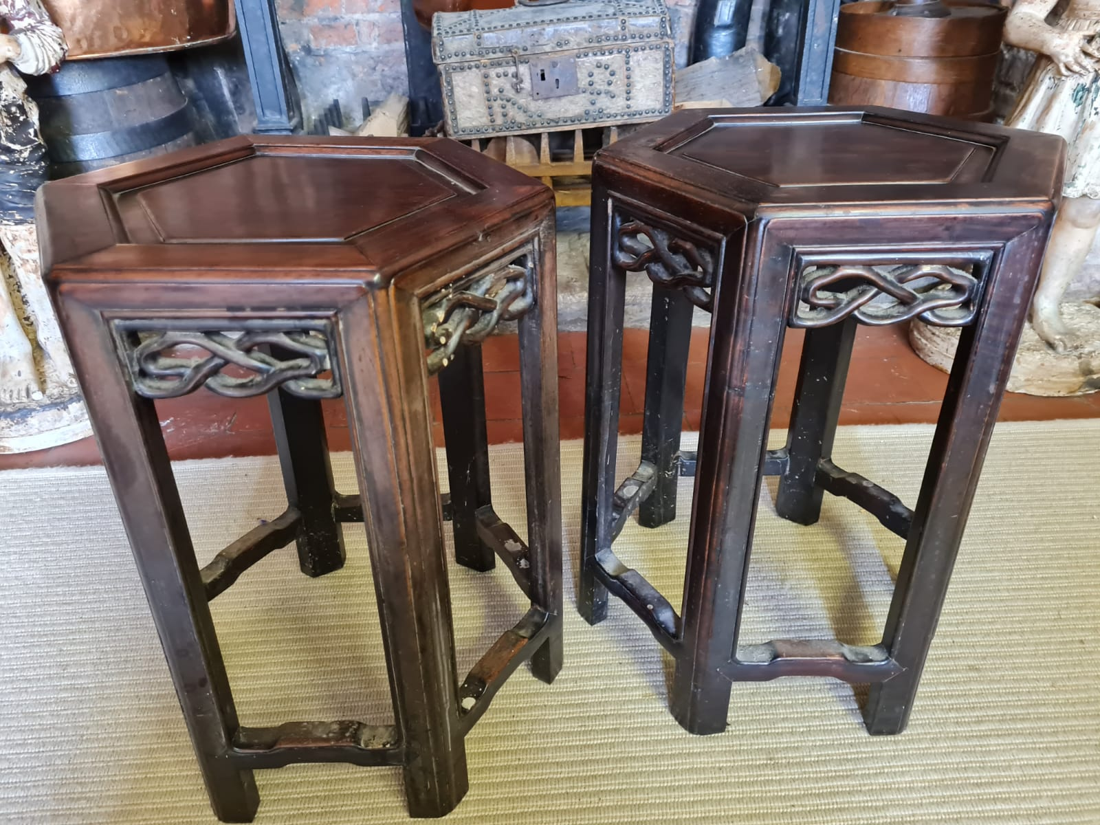 A PAIR OF 19TH CENTURY CHINESE HARDWOOD HEXAGONAL OCCASIONAL TABLES With pierced fretwork apron, - Image 2 of 3