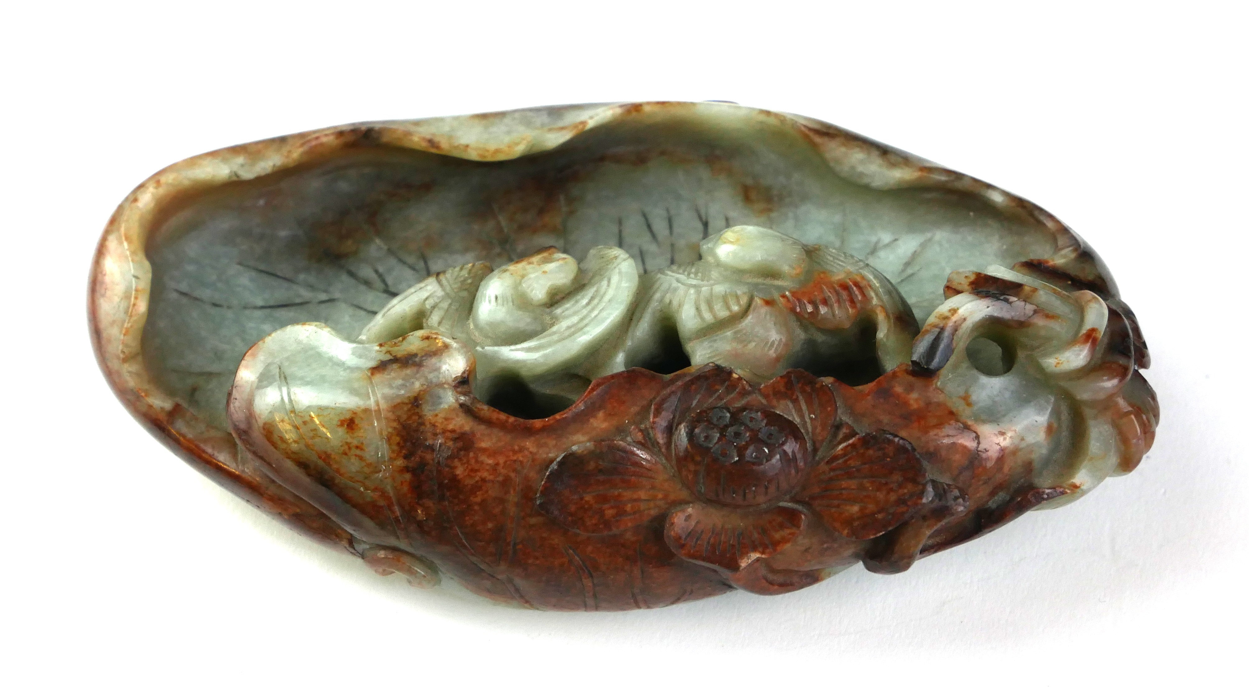A CHINESE LATE MING /EARLY QING DYNASTY JADE SCULPTURE With organic form decoration of a pair of - Image 3 of 5