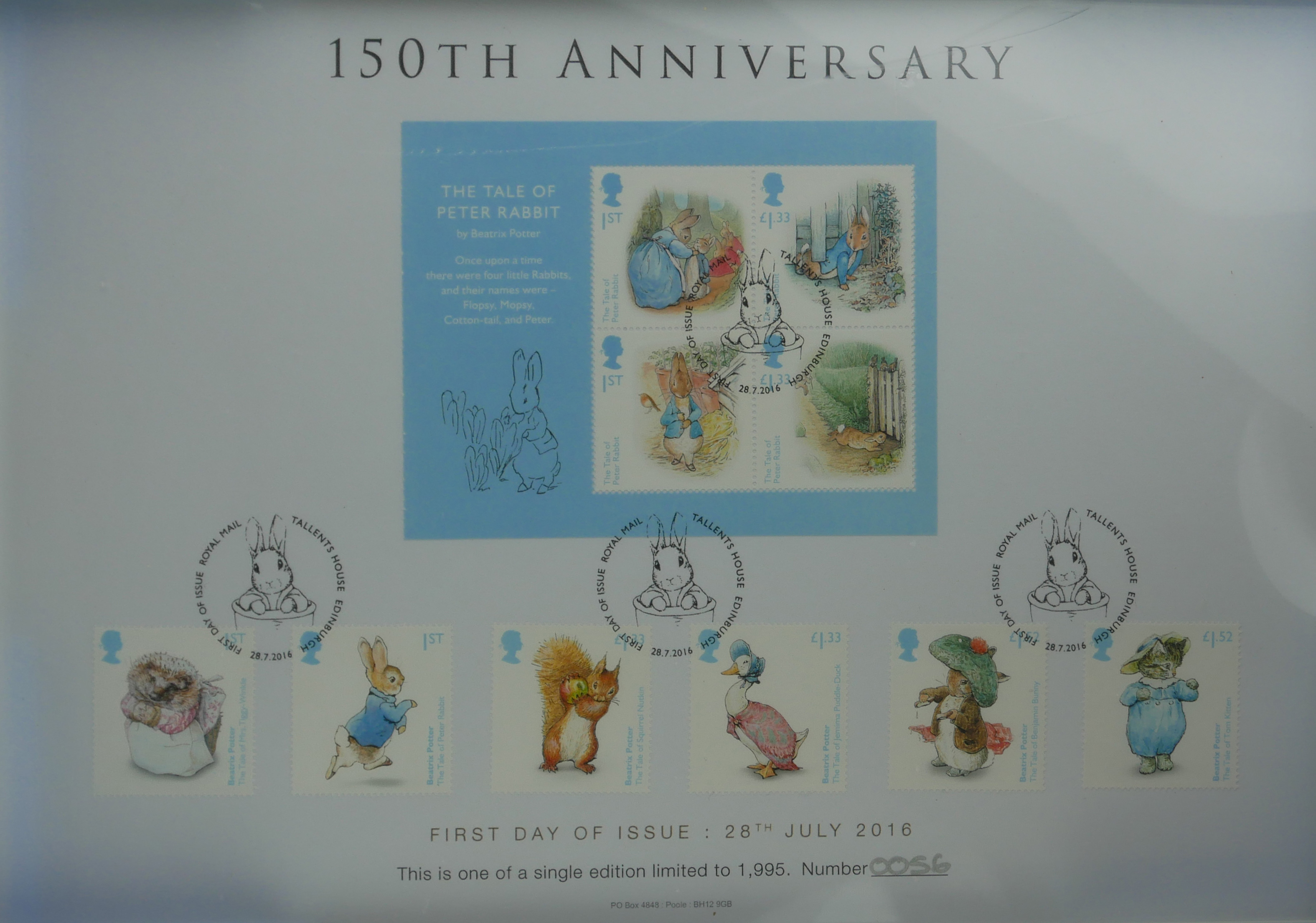 A COLLECTION OF THREE 'PREMIUM CAPSULE' POSTAGE STAMPS Limited edition to include Beatrix Potter, - Image 3 of 5