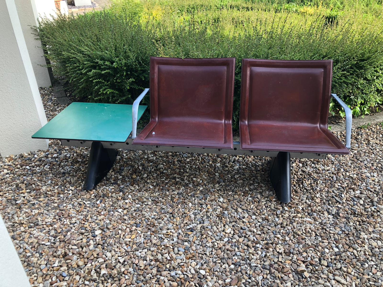 AN ITALIAN STEEL, ALUMINIUM AND LEATHER TWO SEATER BENCH Brown leather covers with aluminium - Image 3 of 3