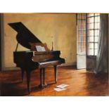 RON BONE, 1950 - 2011, A FINE ACRYLIC ON BOARD Interior scene with grand piano, tilted 'Summer